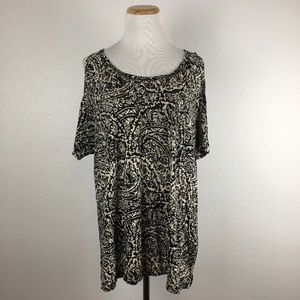 Lucky Brand Cold Shoulder Black Printed Blouse Top